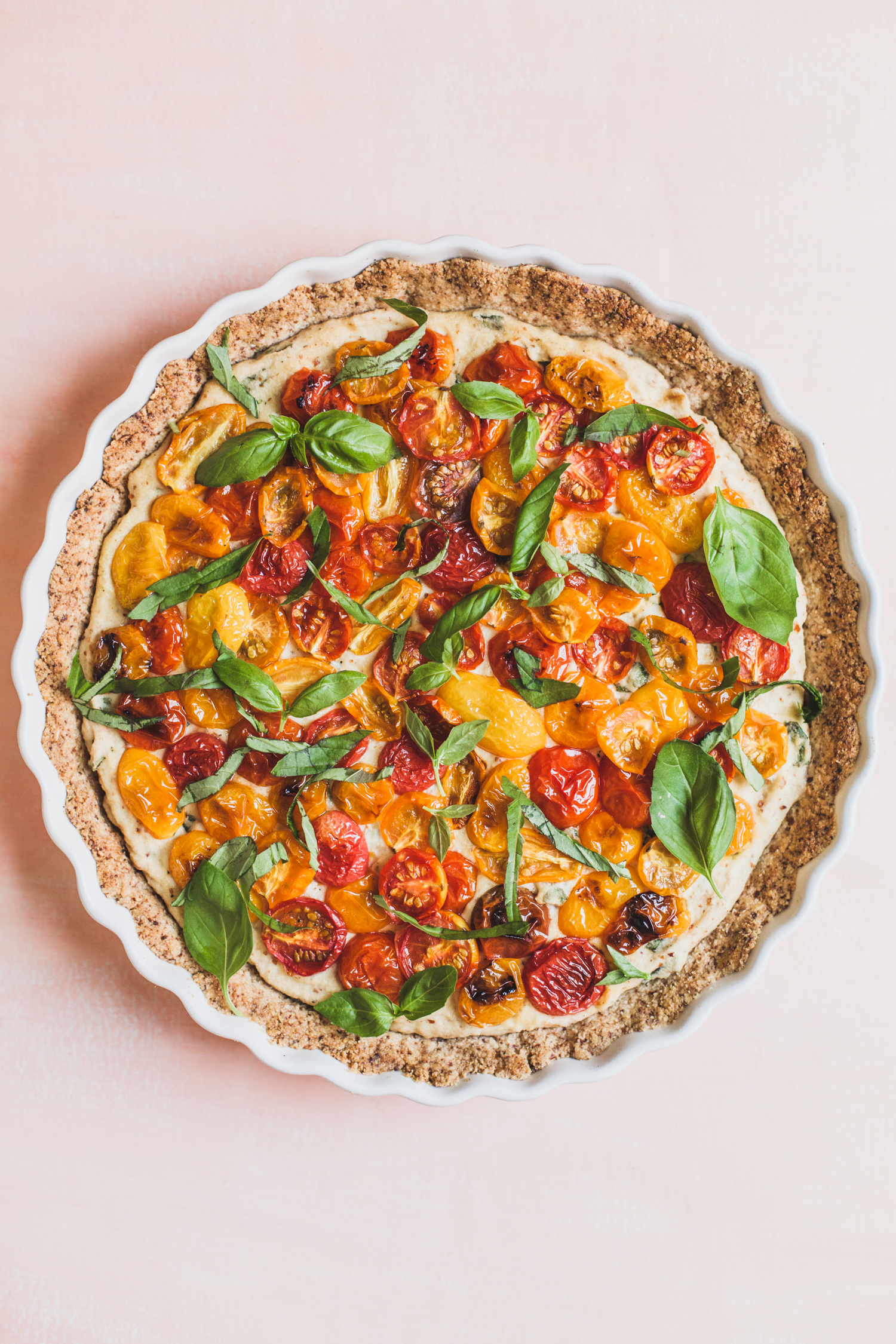 Grain-Free Tomato Tart with Cauliflower Ricotta - Golubka Kitchen