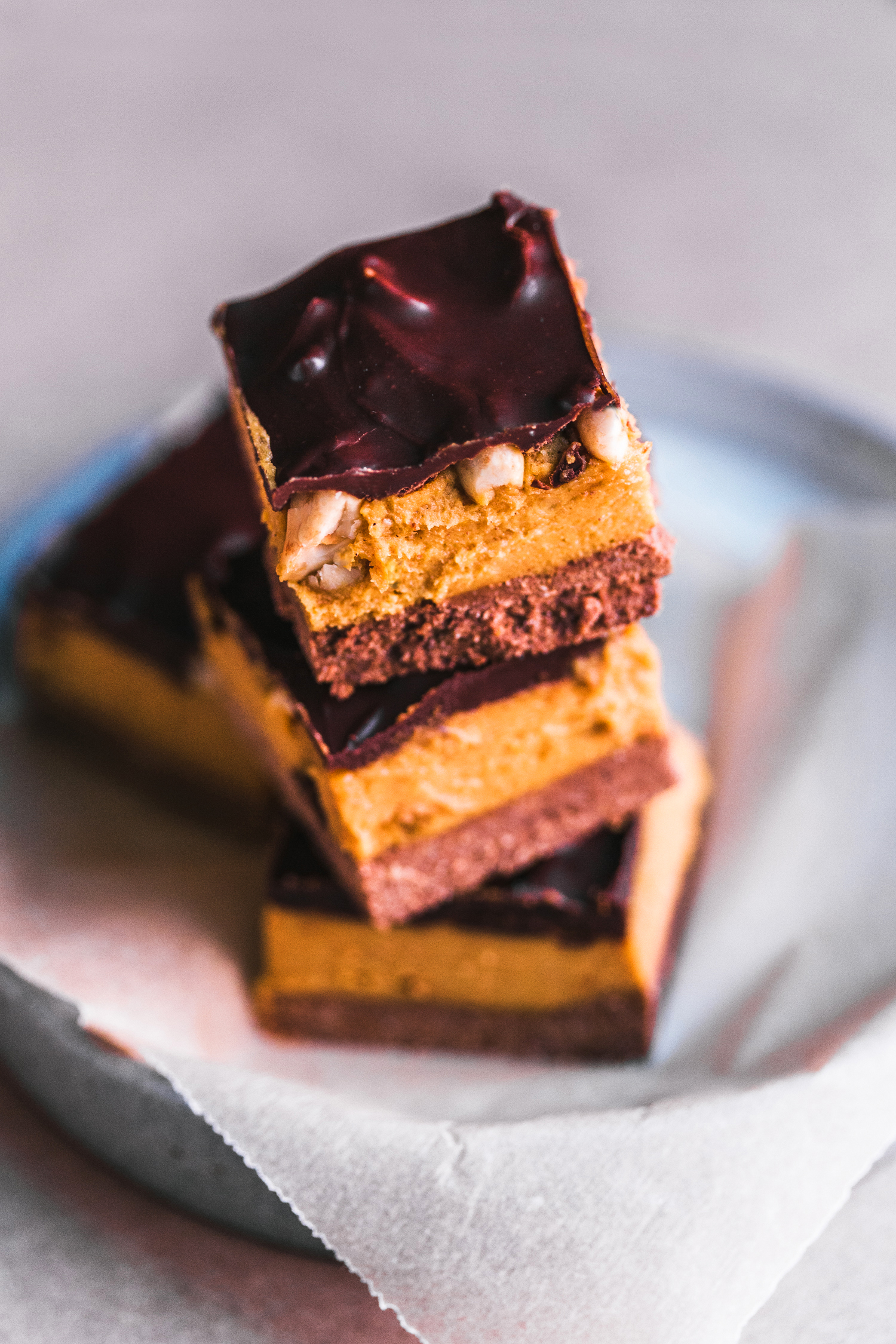 Peanut Butter & Pumpkin Caramel Bars - Golubka Kitchen