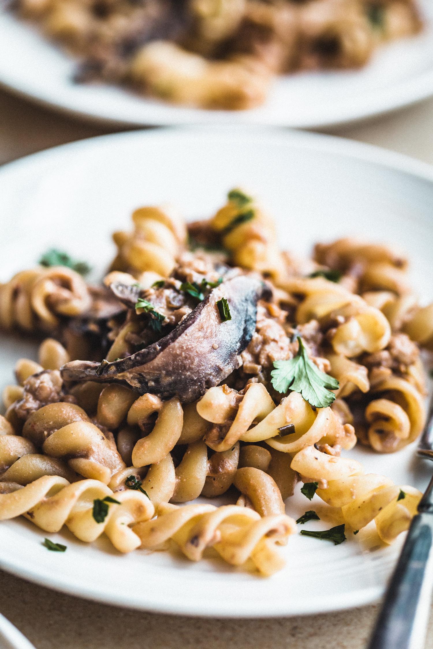 Mushroom Tempeh Stroganoff - Golubka Kitchen