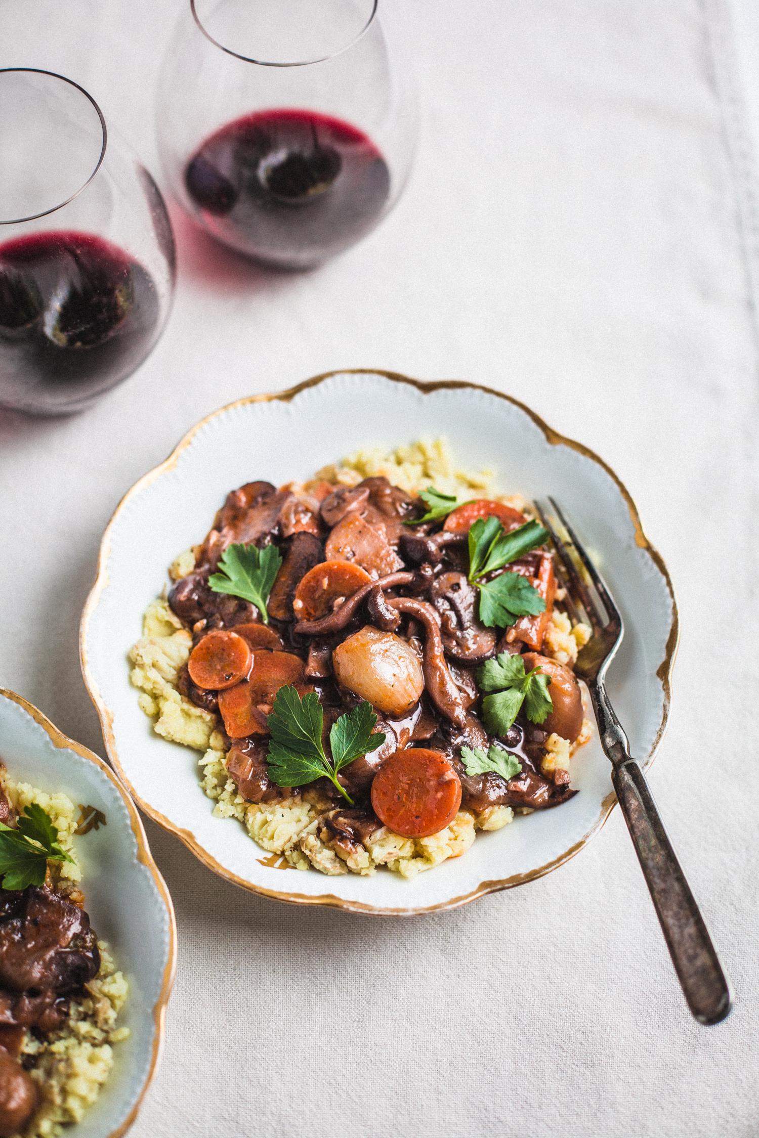 Mushroom Bourguignon - Golubka Kitchen