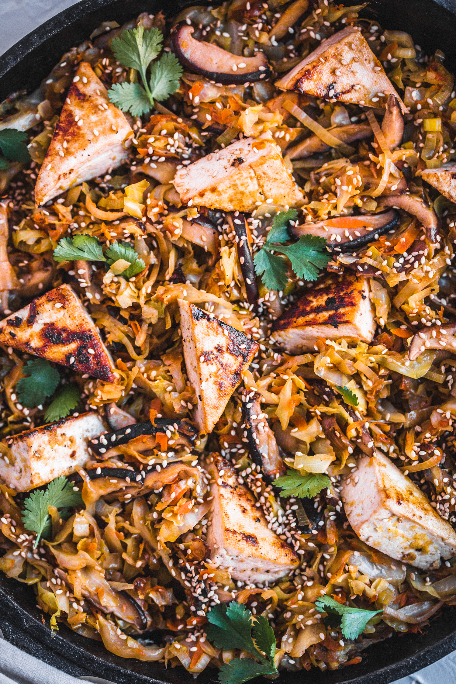 Sesame Ginger Cabbage with Tofu and Shiitake - Golubka Kitchen