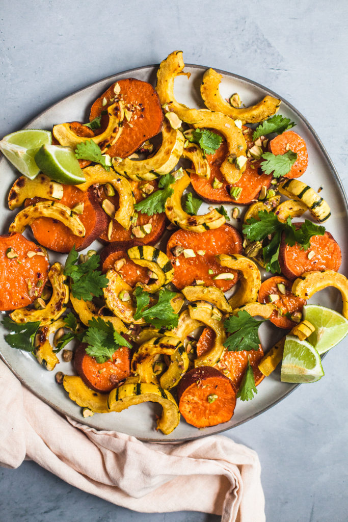 Limey Roasted Sweet Potatoes and Delicata Squash