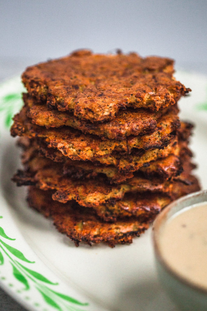 Baked Red Lentil & Vegetable Fritters with Maple Mustard Sauce