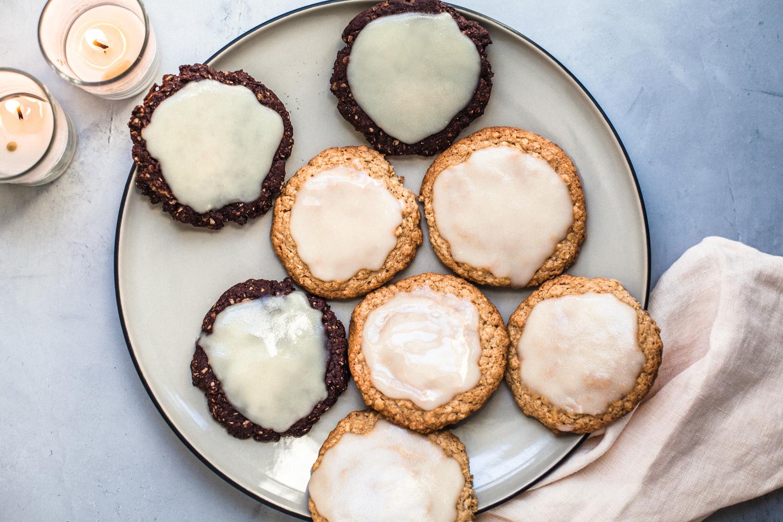 Miso Tahini and Chocolate Peanut Butter Cookies with Coconut Glaze - Golubka Kitchen