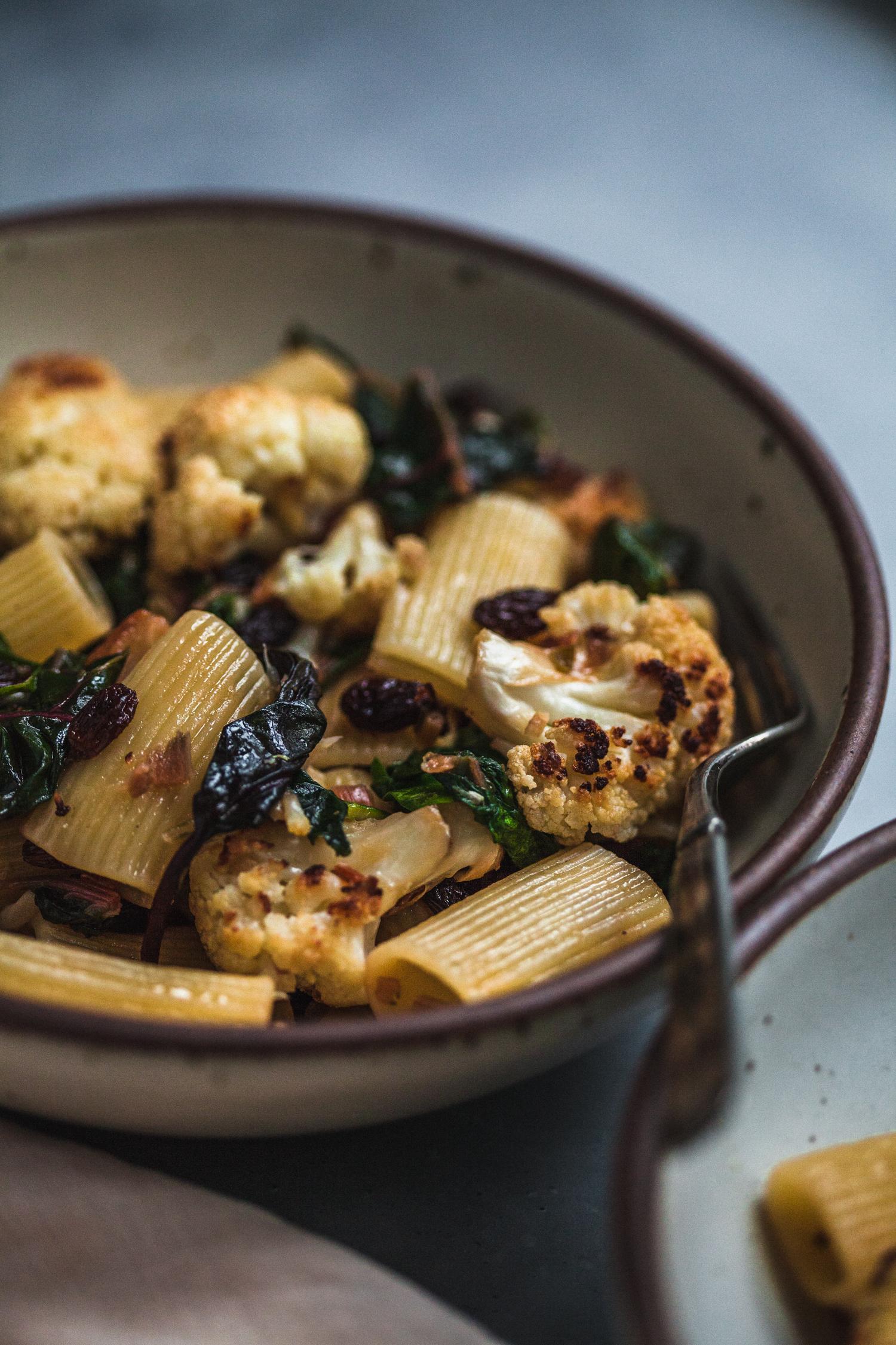 Roasted Cauliflower Pasta with Raisins, Capers, and Chard - Golubka Kitchen