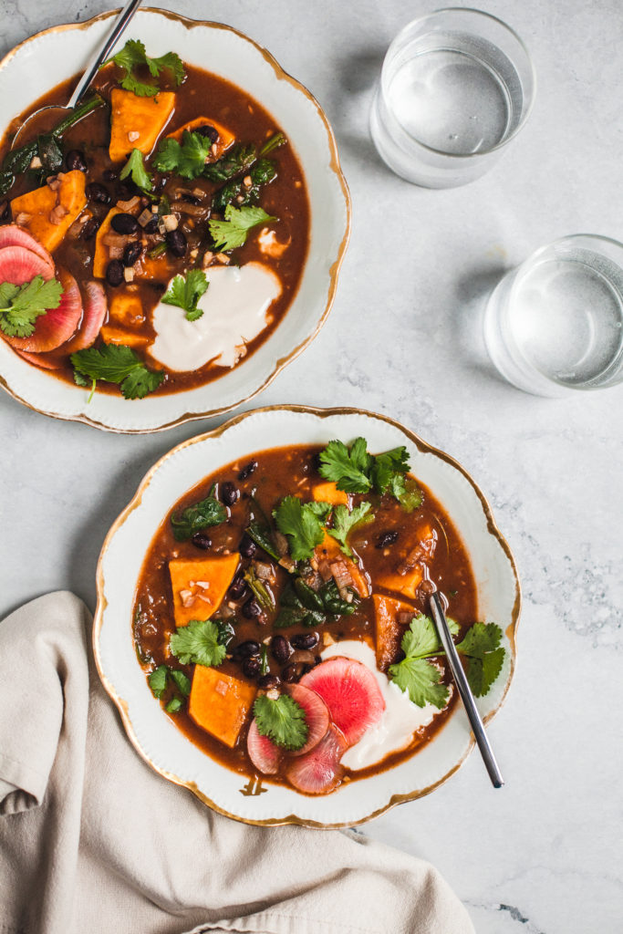 Spicy Black Bean and Sweet Potato Soup