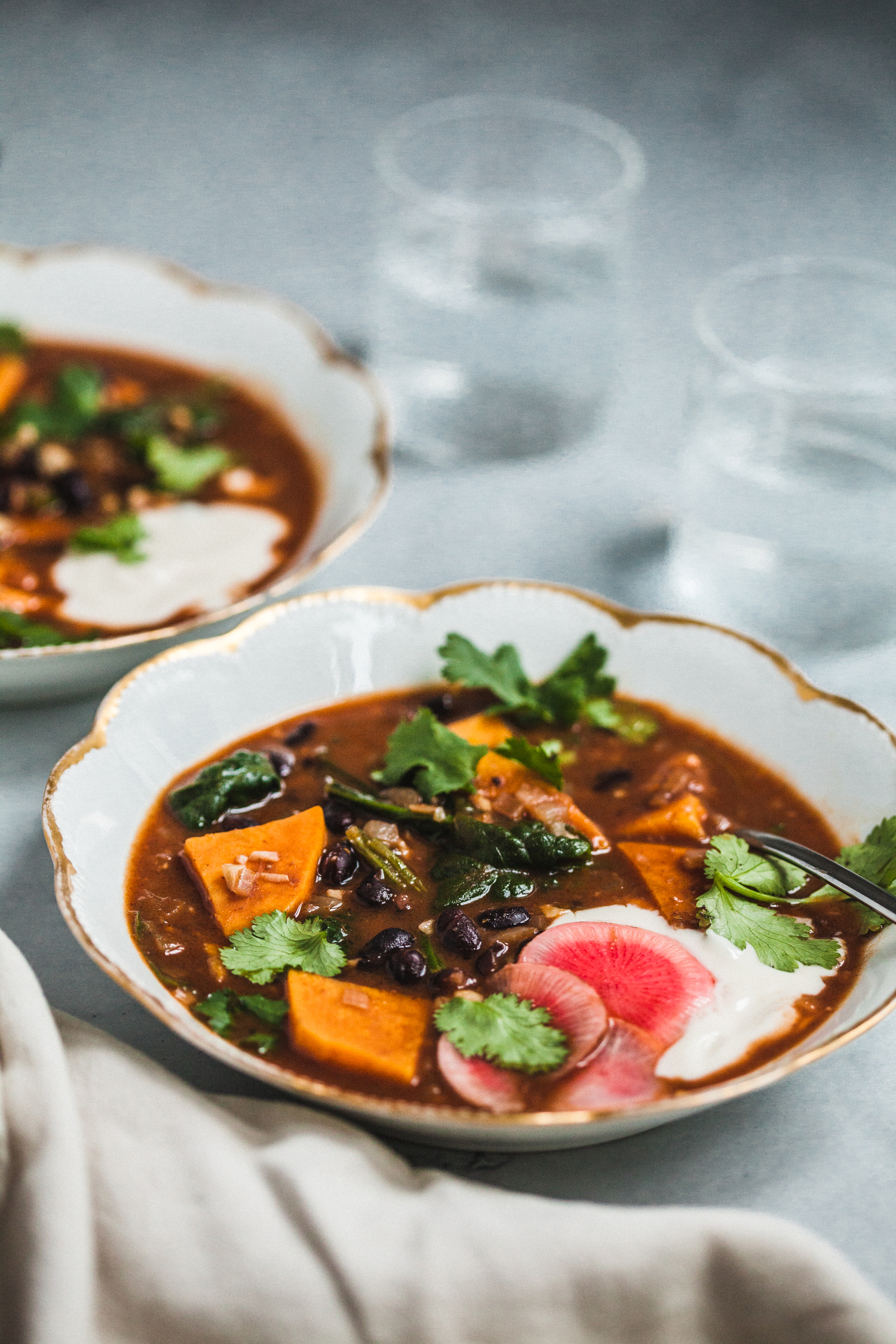 Spicy Black Bean and Sweet Potato Soup - Golubka Kitchen