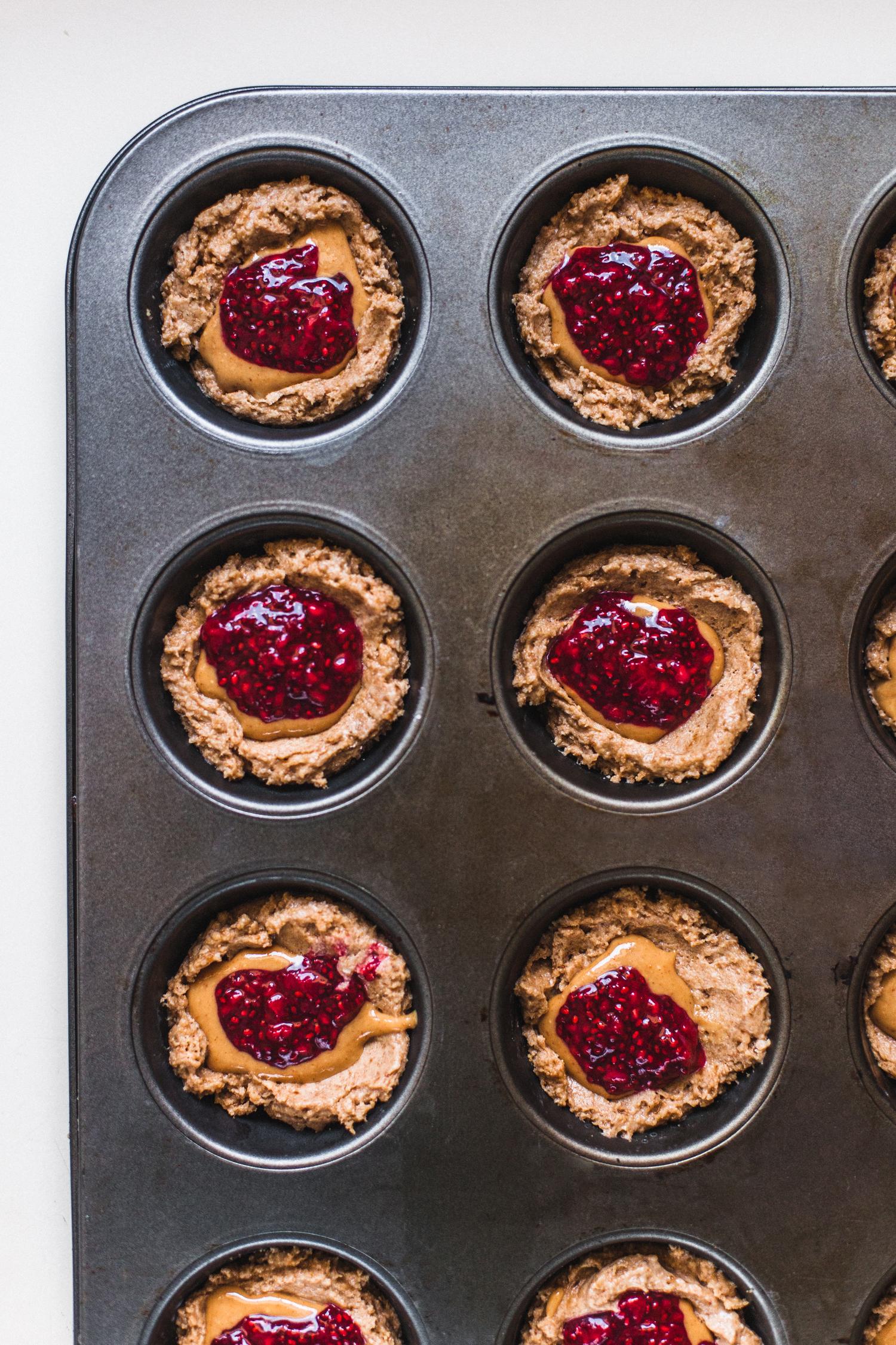 Vegan Peanut Butter and Jelly Muffins - Golubka Kitchen