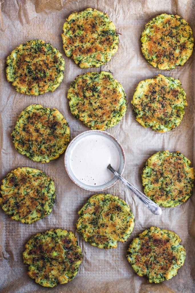 Potato, Dill, and Broccoli Cakes with Spicy Cashew Sauce