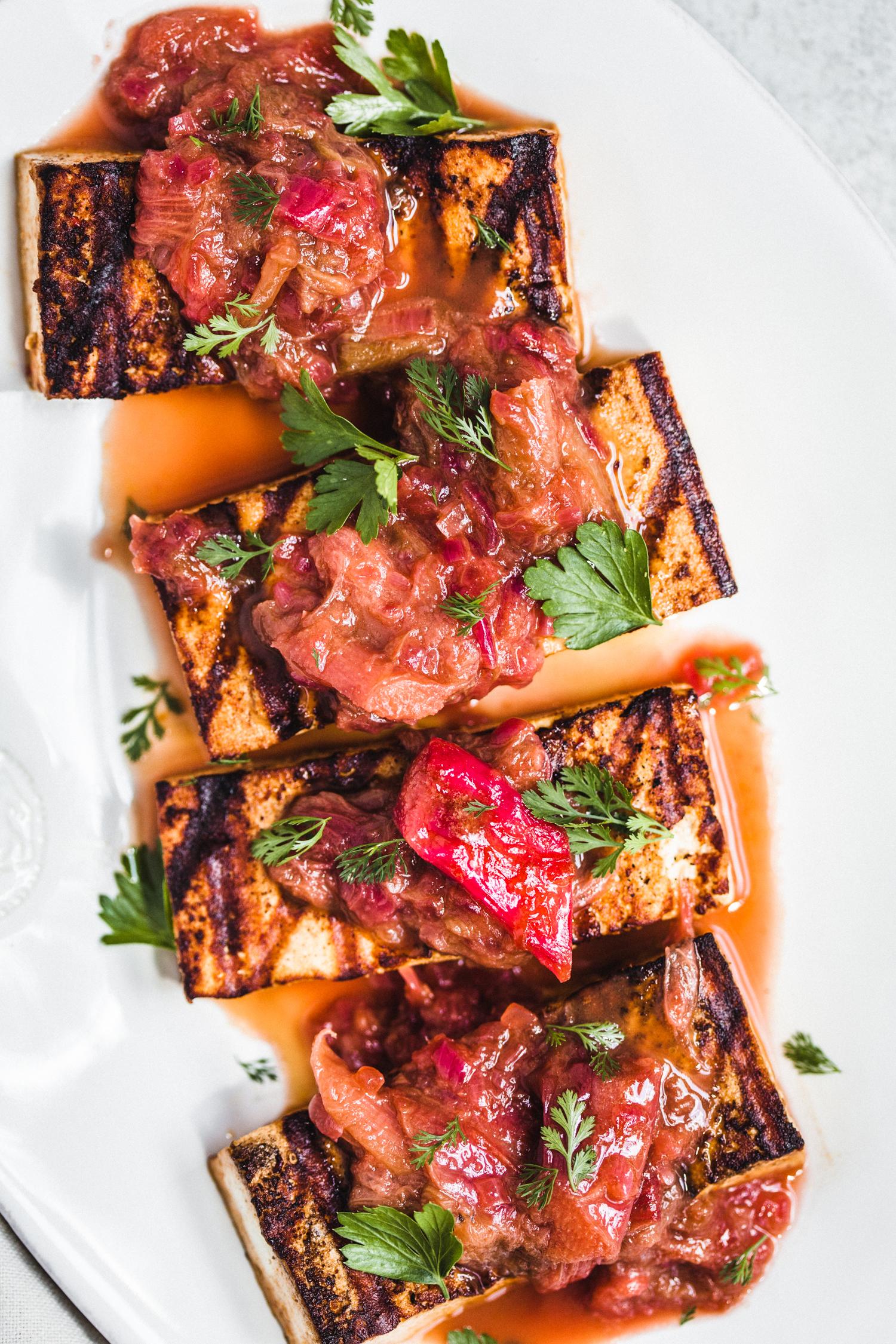 Savory Rhubarb Balsamic Sauce - Golubka Kitchen
